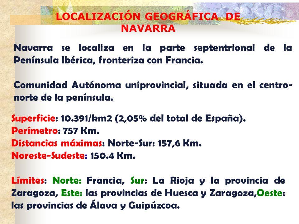LOCALIZACIÓN GEOGRÁFICA DE NAVARRA Navarra se localiza en la parte septentrional de la Península Ibérica, fronteriza con Francia. Comunidad Autónoma u