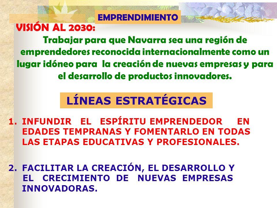 VISIÓN AL 2030: Trabajar para que Navarra sea una región de emprendedores reconocida internacionalmente como un lugar idóneo para la creación de nueva