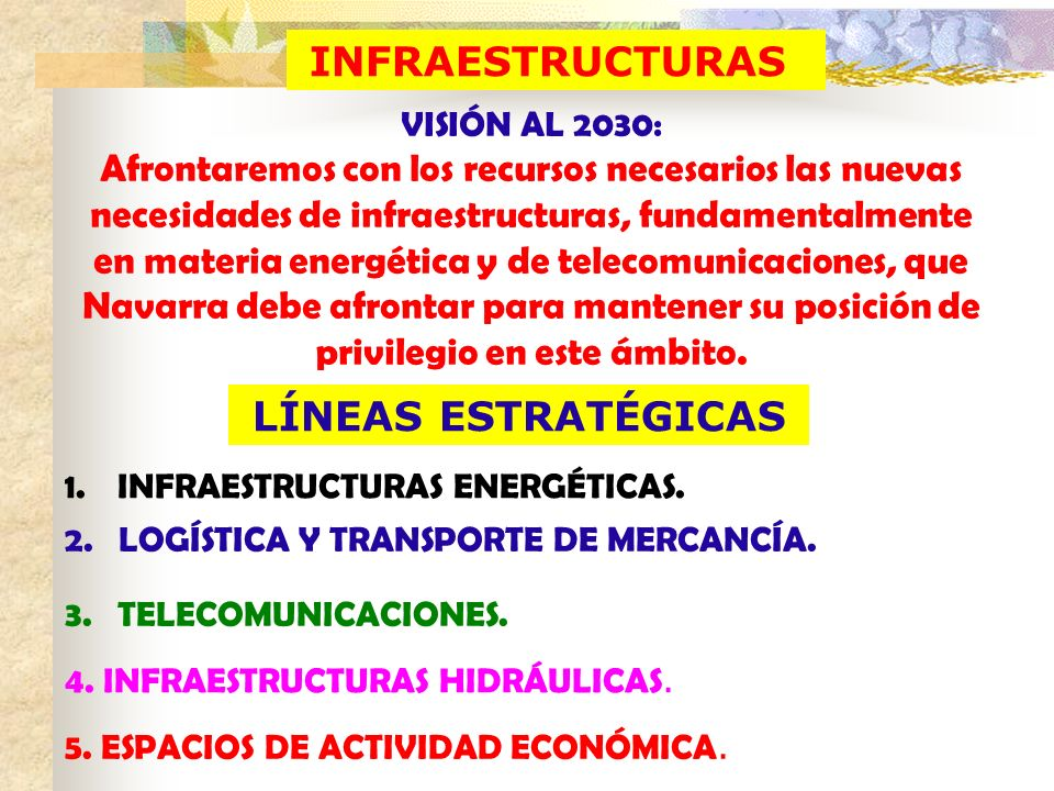 INFRAESTRUCTURAS VISIÓN AL 2030: Afrontaremos con los recursos necesarios las nuevas necesidades de infraestructuras, fundamentalmente en materia ener