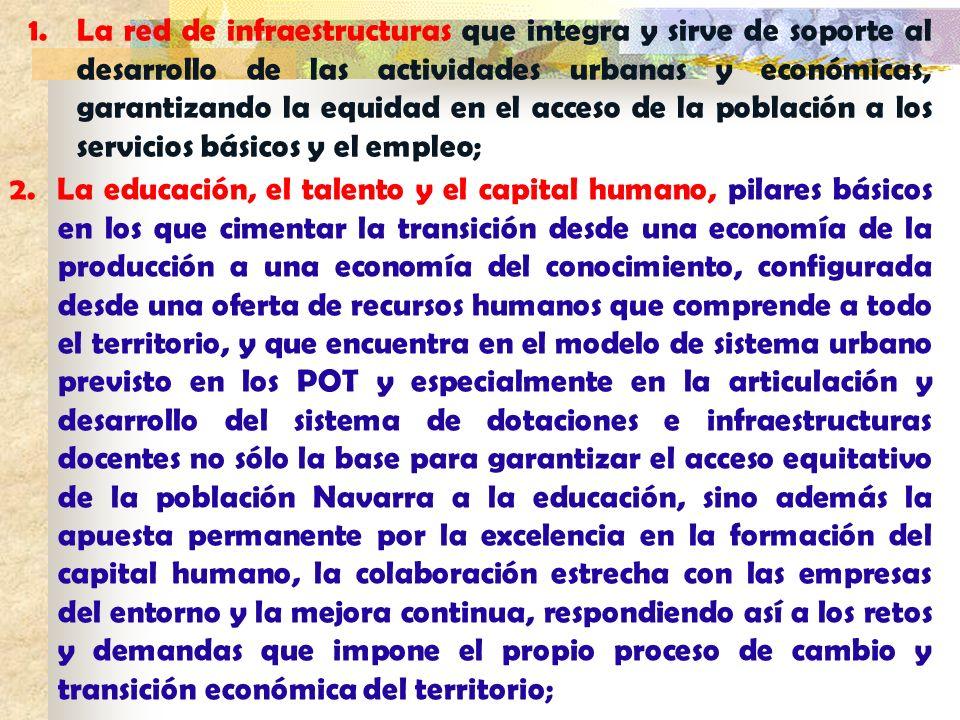 1.La red de infraestructuras que integra y sirve de soporte al desarrollo de las actividades urbanas y económicas, garantizando la equidad en el acces