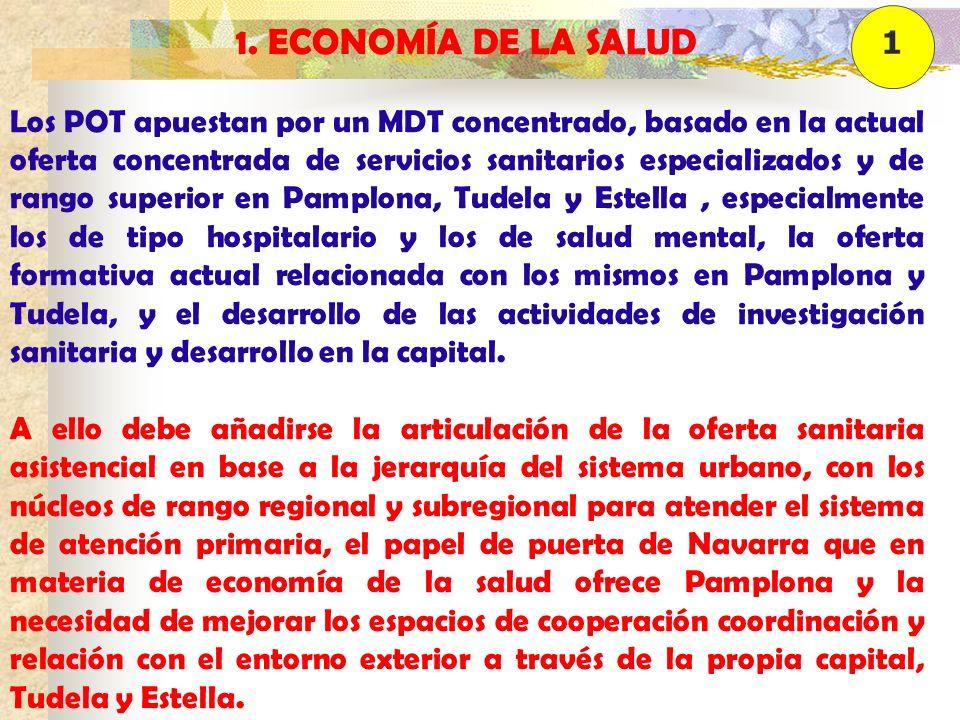 1. ECONOMÍA DE LA SALUD Los POT apuestan por un MDT concentrado, basado en la actual oferta concentrada de servicios sanitarios especializados y de ra