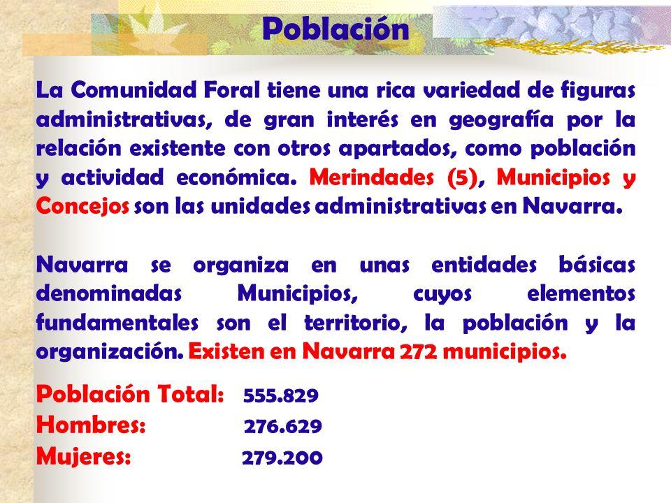 Población La Comunidad Foral tiene una rica variedad de figuras administrativas, de gran interés en geografía por la relación existente con otros apar