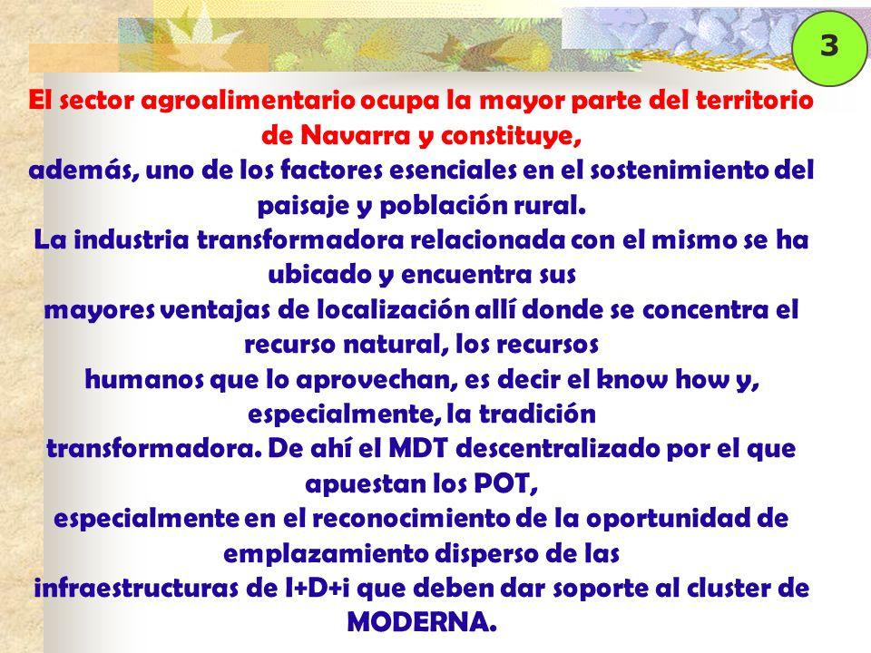 El sector agroalimentario ocupa la mayor parte del territorio de Navarra y constituye, además, uno de los factores esenciales en el sostenimiento del