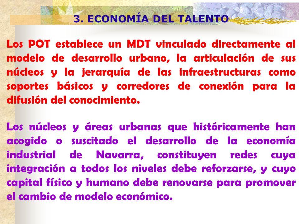 3. ECONOMÍA DEL TALENTO Los POT establece un MDT vinculado directamente al modelo de desarrollo urbano, la articulación de sus núcleos y la jerarquía
