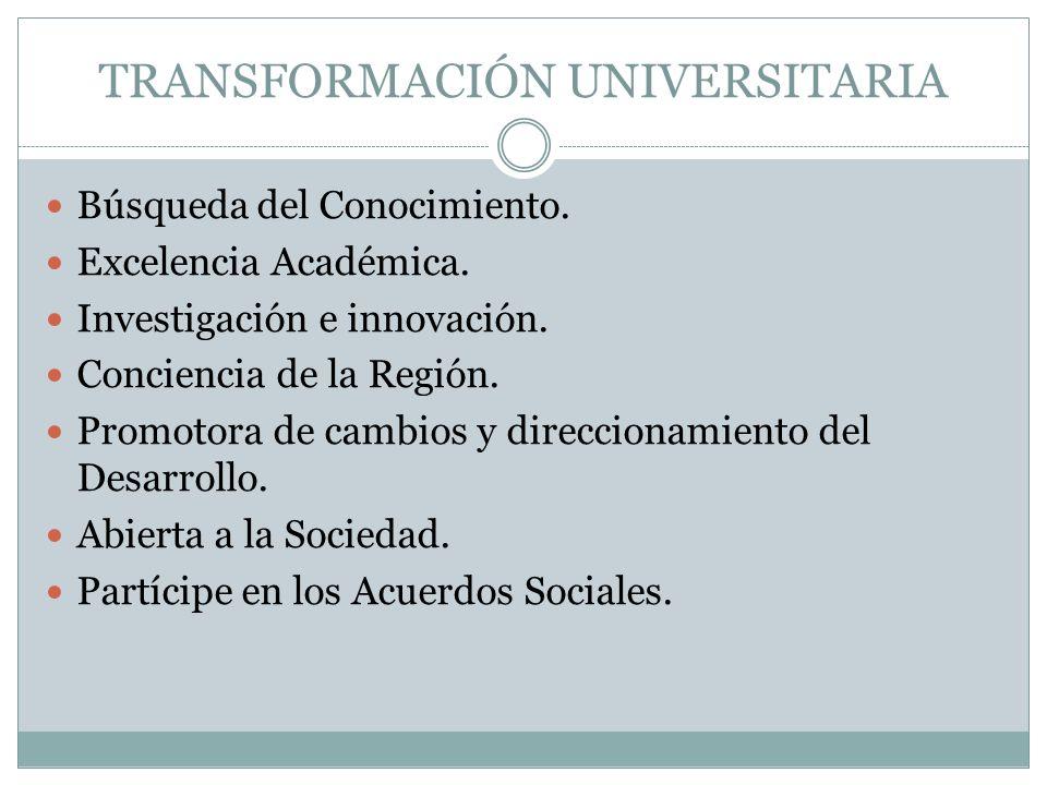 TRANSFORMACIÓN UNIVERSITARIA Búsqueda del Conocimiento.