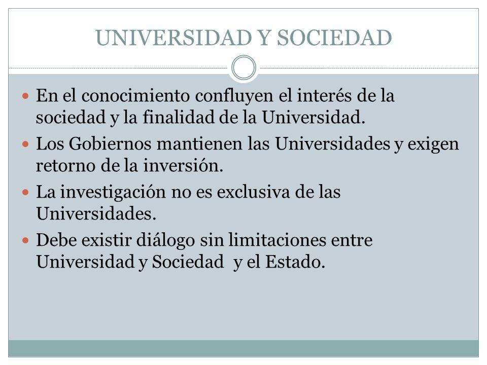 UNIVERSIDAD Y SOCIEDAD En el conocimiento confluyen el interés de la sociedad y la finalidad de la Universidad.