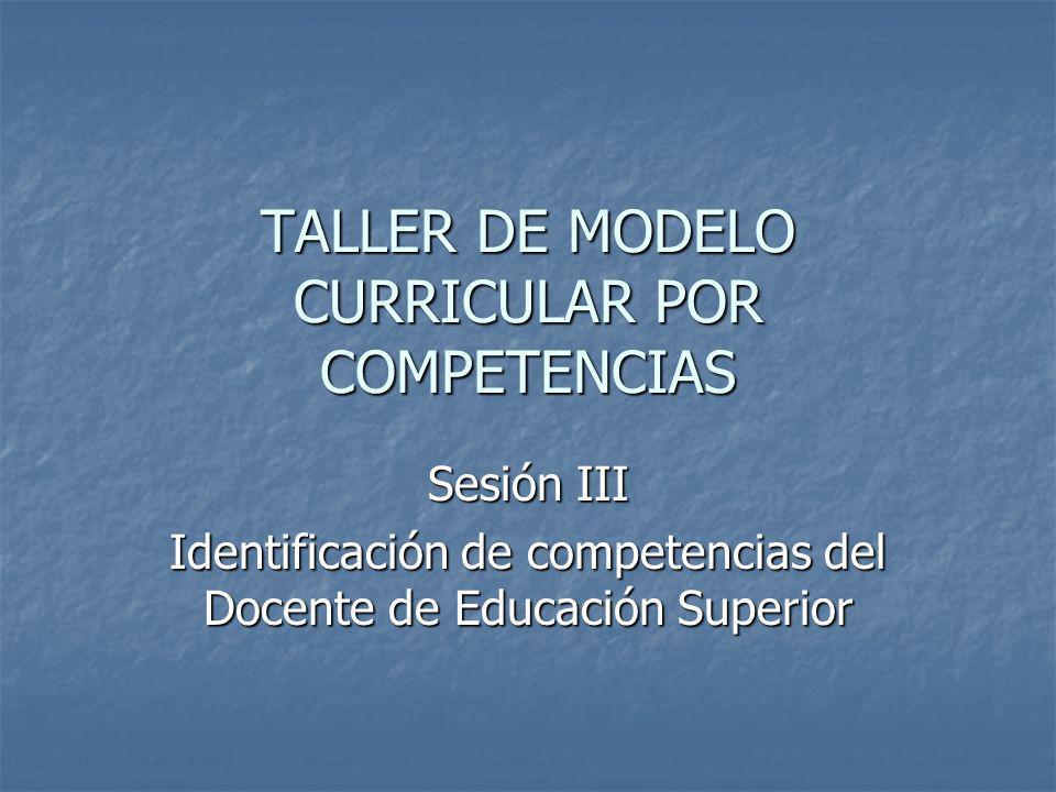 TALLER DE MODELO CURRICULAR POR COMPETENCIAS Sesión III Identificación de competencias del Docente de Educación Superior