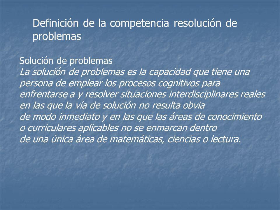 Solución de problemas La solución de problemas es la capacidad que tiene una persona de emplear los procesos cognitivos para enfrentarse a y resolver