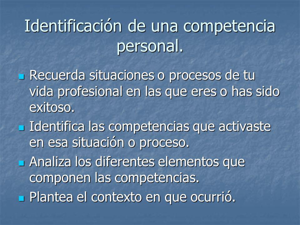 Identificación de una competencia personal. Recuerda situaciones o procesos de tu vida profesional en las que eres o has sido exitoso. Recuerda situac