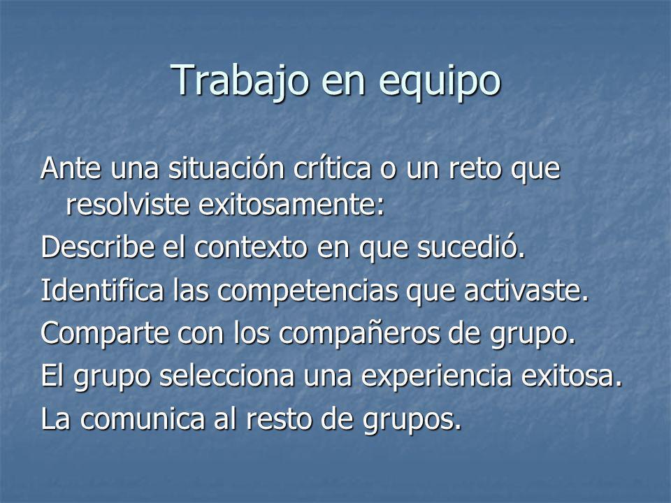 Trabajo en equipo Ante una situación crítica o un reto que resolviste exitosamente: Describe el contexto en que sucedió. Identifica las competencias q