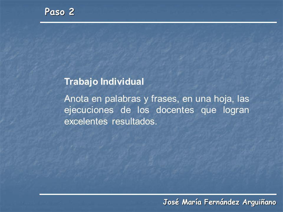 Paso 2 José María Fernández Arguiñano Trabajo Individual Anota en palabras y frases, en una hoja, las ejecuciones de los docentes que logran excelente