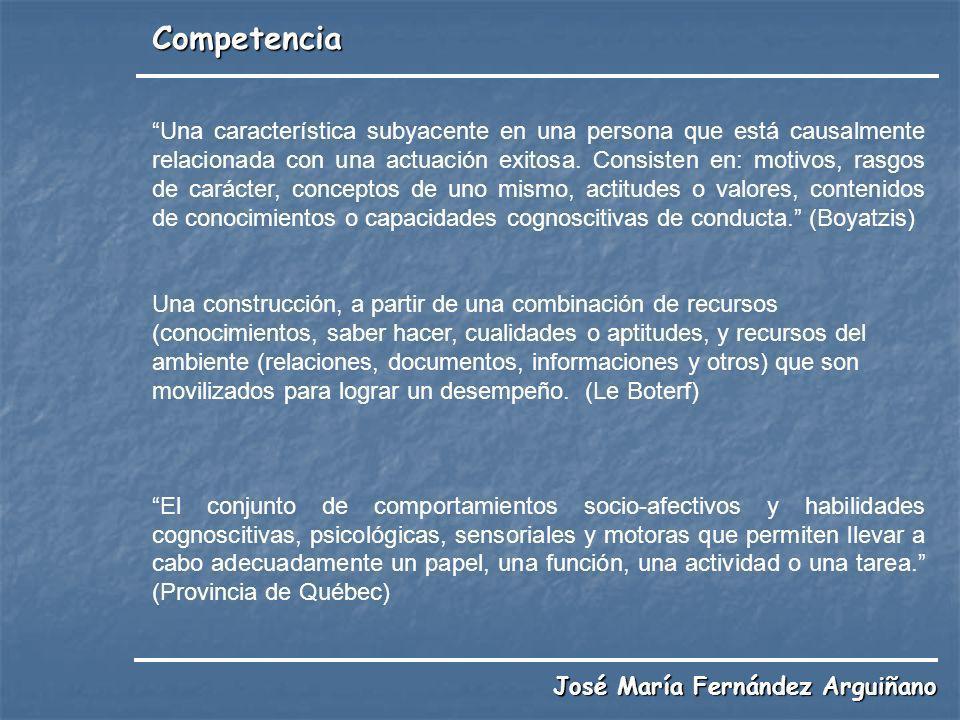 Competencia Una característica subyacente en una persona que está causalmente relacionada con una actuación exitosa. Consisten en: motivos, rasgos de