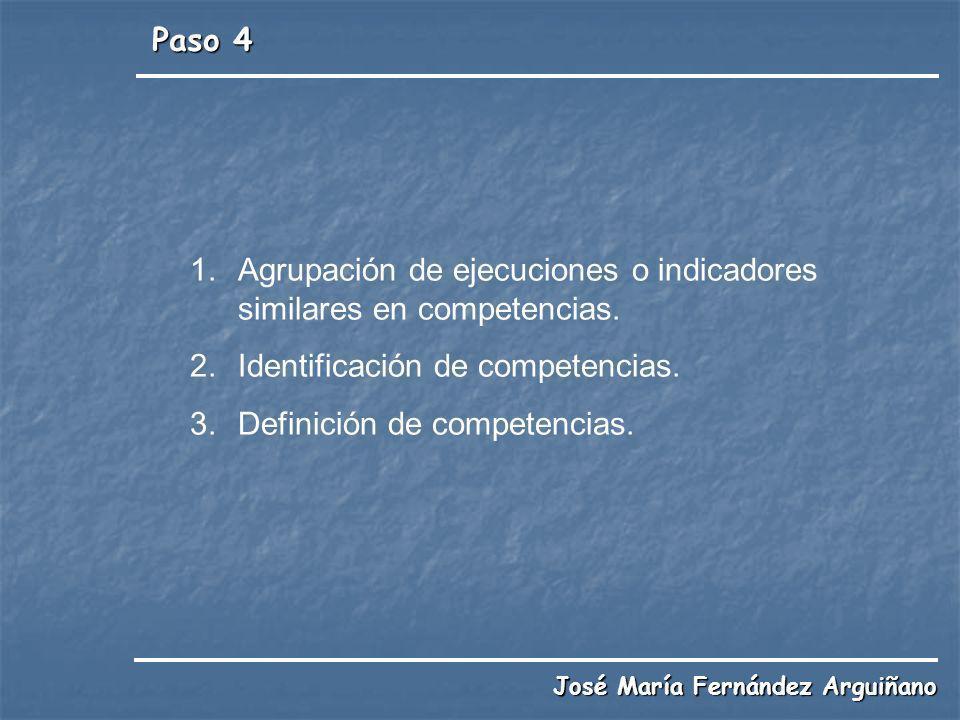 Paso 4 José María Fernández Arguiñano 1.Agrupación de ejecuciones o indicadores similares en competencias. 2.Identificación de competencias. 3.Definic