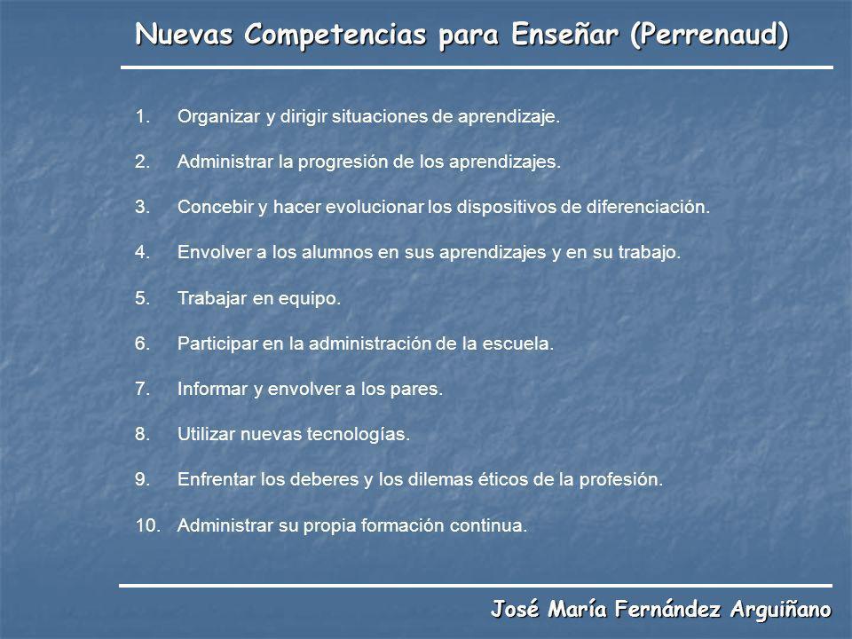 Nuevas Competencias para Enseñar (Perrenaud) José María Fernández Arguiñano 1.Organizar y dirigir situaciones de aprendizaje. 2.Administrar la progres