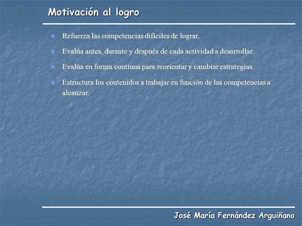 Motivación al logro José María Fernández Arguiñano Refuerza las competencias difíciles de lograr. Evalúa antes, durante y después de cada actividad a
