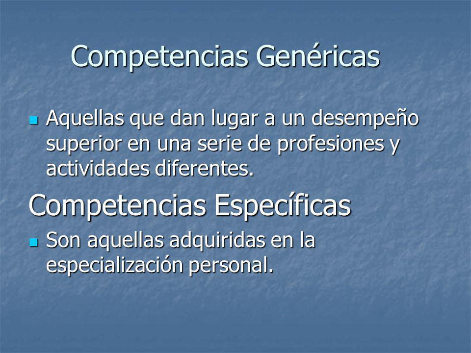 Competencias Genéricas Aquellas que dan lugar a un desempeño superior en una serie de profesiones y actividades diferentes. Aquellas que dan lugar a u