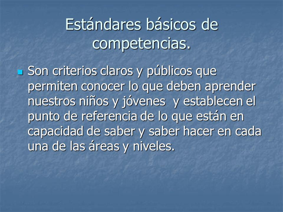 Estándares básicos de competencias. Son criterios claros y públicos que permiten conocer lo que deben aprender nuestros niños y jóvenes y establecen e