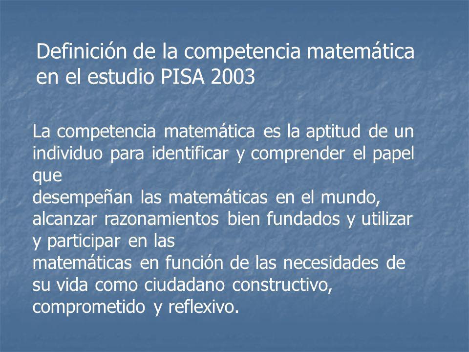 La competencia matemática es la aptitud de un individuo para identificar y comprender el papel que desempeñan las matemáticas en el mundo, alcanzar ra