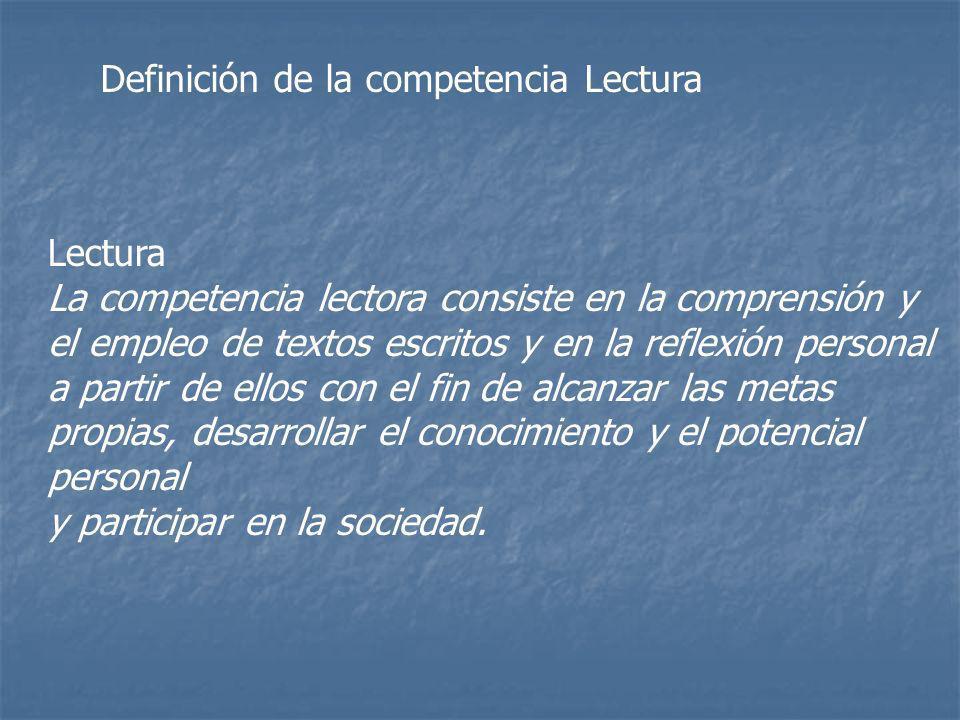 Definición de la competencia Lectura Lectura La competencia lectora consiste en la comprensión y el empleo de textos escritos y en la reflexión person