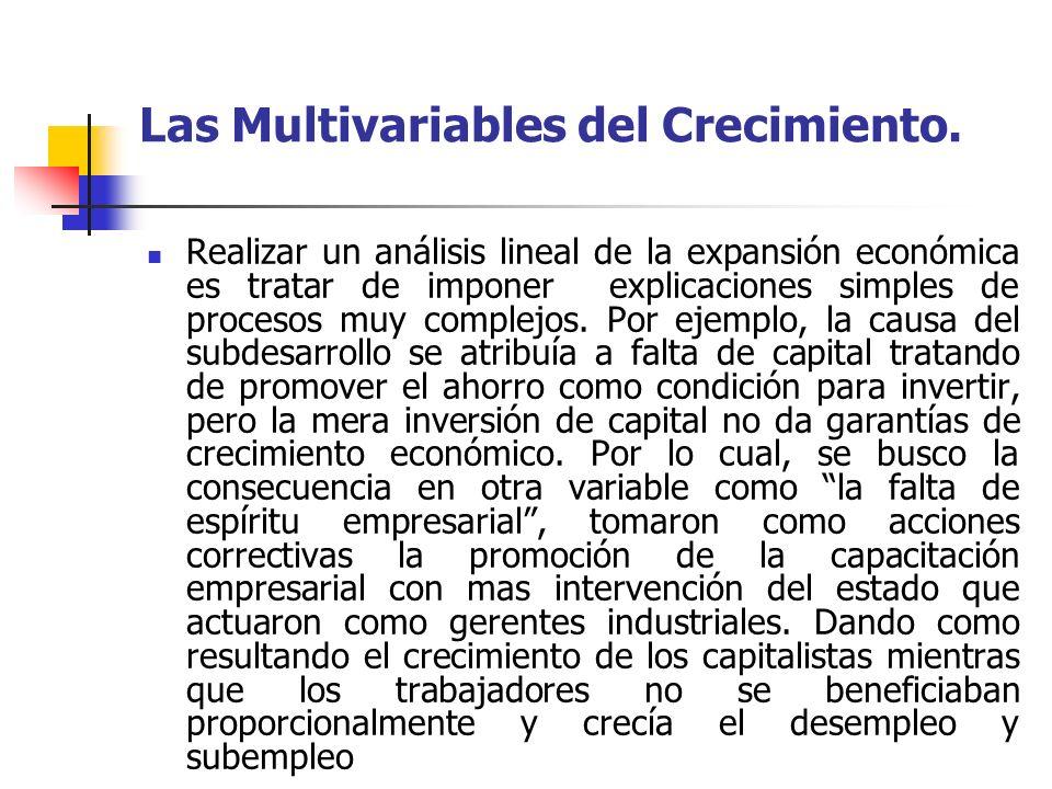 Las Multivariables del Crecimiento. Realizar un análisis lineal de la expansión económica es tratar de imponer explicaciones simples de procesos muy c