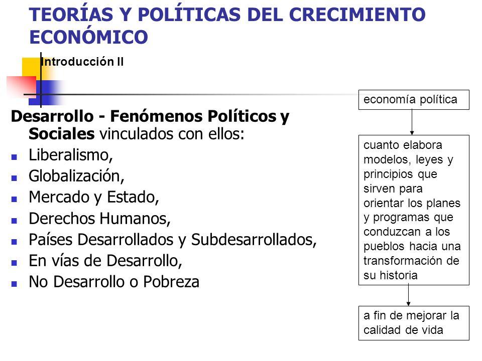 Desarrollo - Fenómenos Políticos y Sociales vinculados con ellos: Liberalismo, Globalización, Mercado y Estado, Derechos Humanos, Países Desarrollados