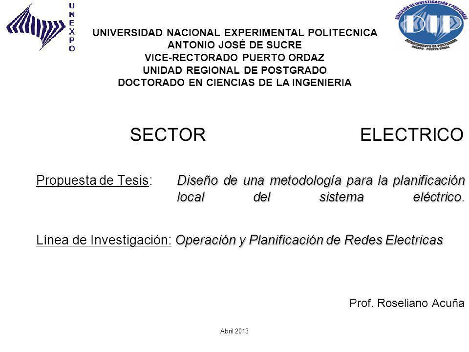 Diseño de una metodología para la planificación local del sistema eléctrico Operación y Planificación de Redes Electricas SECTOR ELECTRICO Propuesta d