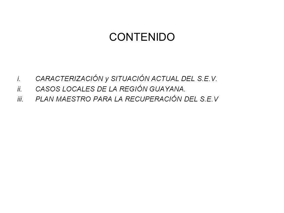 CONTENIDO i.CARACTERIZACIÓN y SITUACIÓN ACTUAL DEL S.E.V. ii.CASOS LOCALES DE LA REGIÓN GUAYANA. iii.PLAN MAESTRO PARA LA RECUPERACIÓN DEL S.E.V