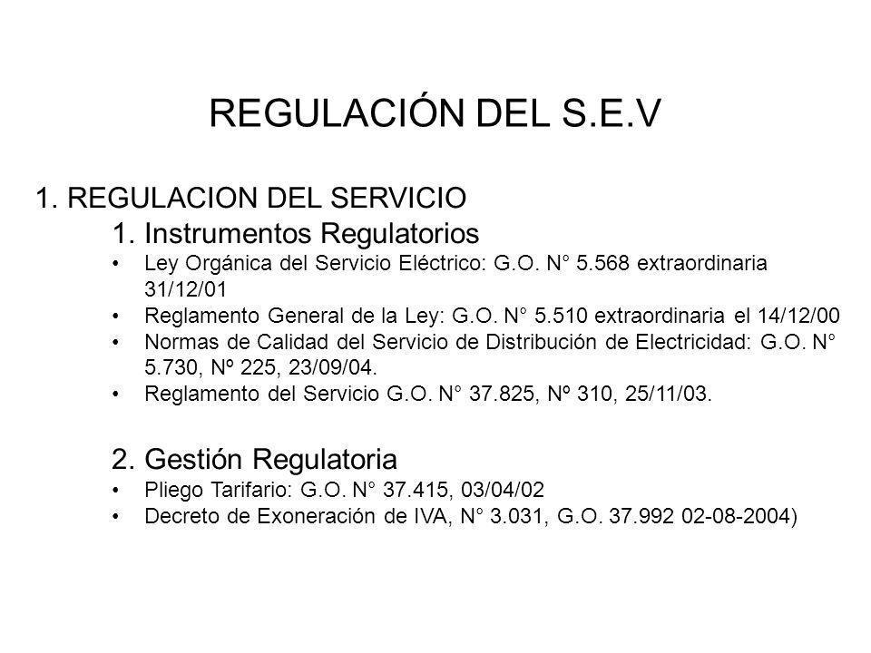 1.REGULACION DEL SERVICIO 1.Instrumentos Regulatorios Ley Orgánica del Servicio Eléctrico: G.O. N° 5.568 extraordinaria 31/12/01 Reglamento General de