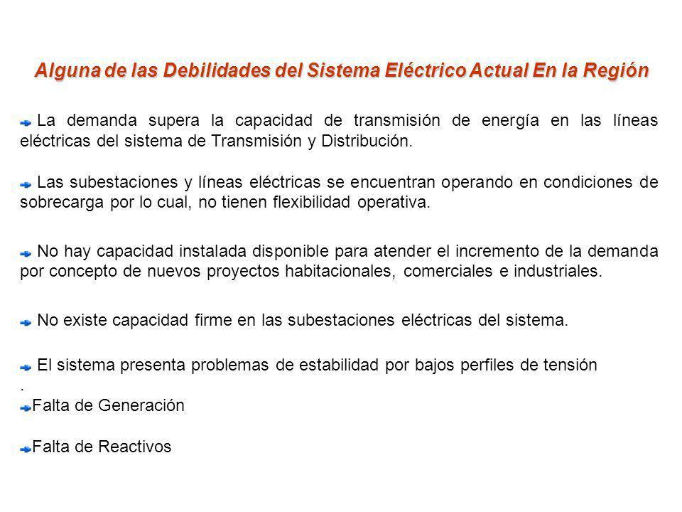 Alguna de las Debilidades del Sistema Eléctrico Actual En la Región La demanda supera la capacidad de transmisión de energía en las líneas eléctricas