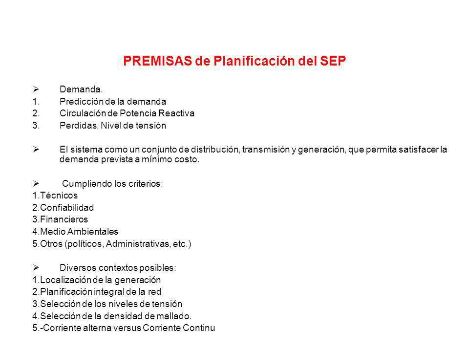 PREMISAS de Planificación del SEP Demanda. 1.Predicción de la demanda 2.Circulación de Potencia Reactiva 3.Perdidas, Nivel de tensión El sistema como