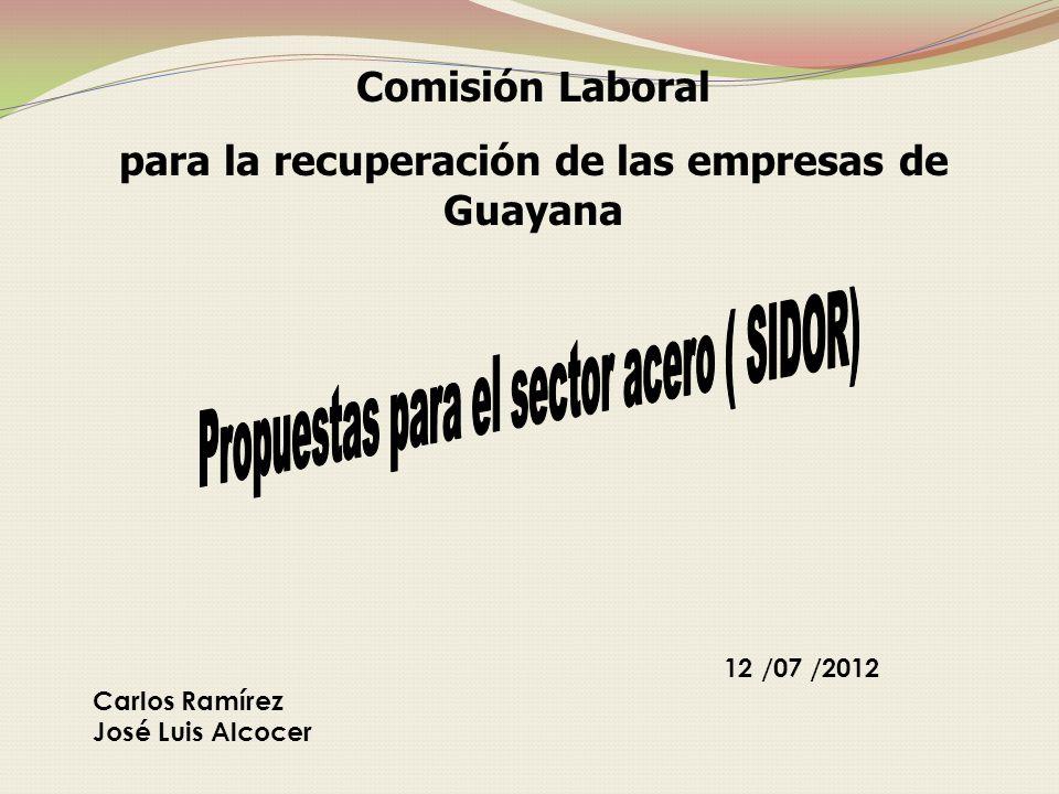 12 /07 /2012 Carlos Ramírez José Luis Alcocer Comisión Laboral para la recuperación de las empresas de Guayana