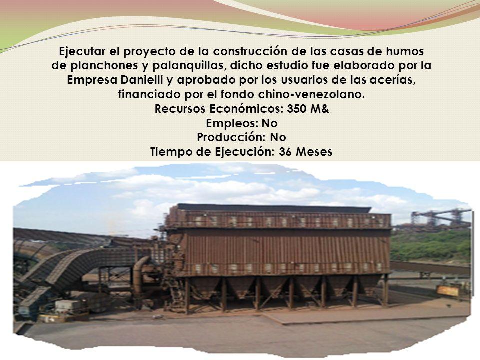 Ejecutar el proyecto de la construcción de las casas de humos de planchones y palanquillas, dicho estudio fue elaborado por la Empresa Danielli y aprobado por los usuarios de las acerías, financiado por el fondo chino-venezolano.