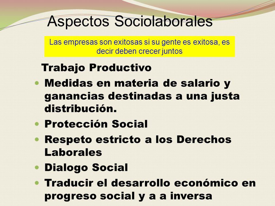 Aspectos Sociolaborales Las empresas son exitosas si su gente es exitosa, es decir deben crecer juntos Trabajo Productivo Medidas en materia de salario y ganancias destinadas a una justa distribución.