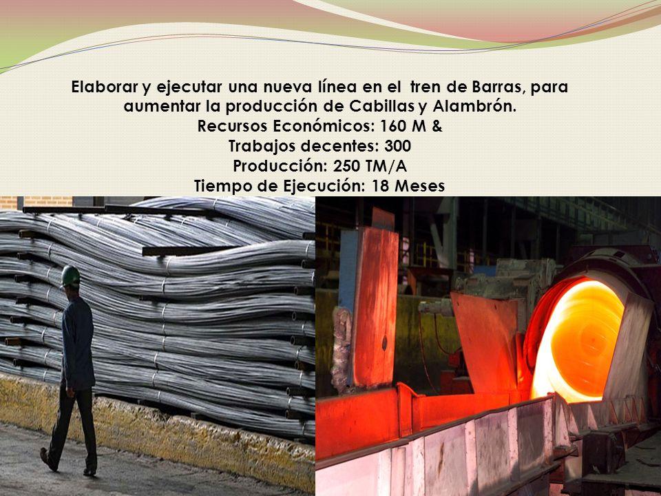 Elaborar y ejecutar una nueva línea en el tren de Barras, para aumentar la producción de Cabillas y Alambrón.
