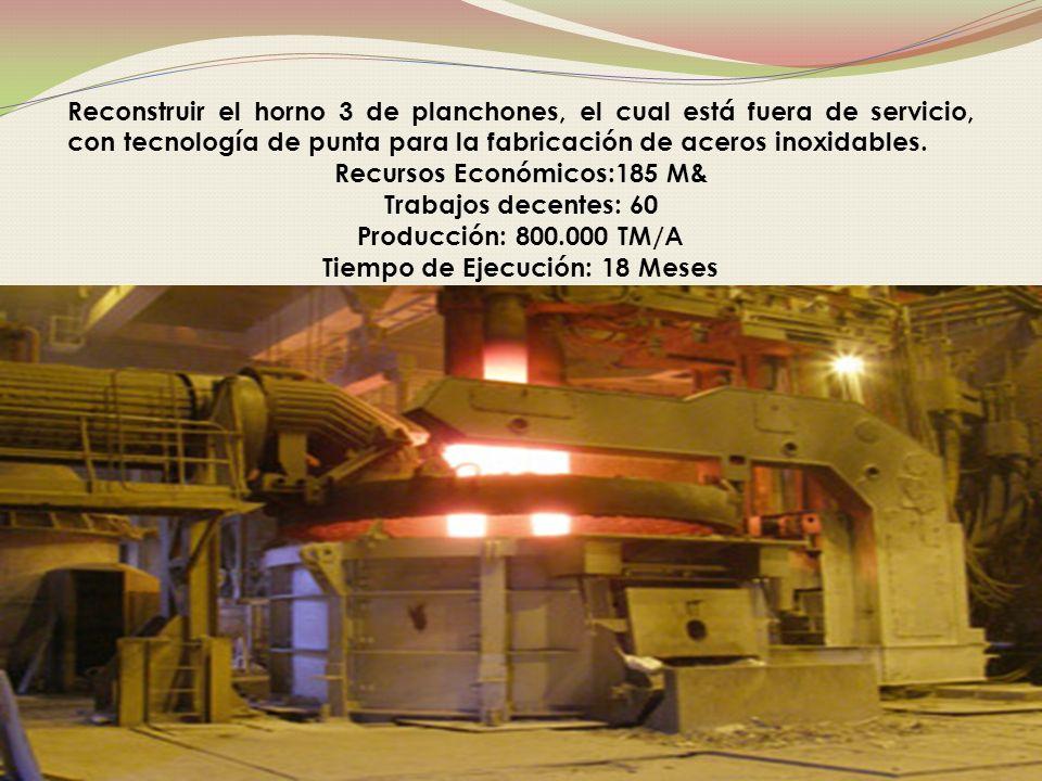 Reconstruir el horno 3 de planchones, el cual está fuera de servicio, con tecnología de punta para la fabricación de aceros inoxidables.
