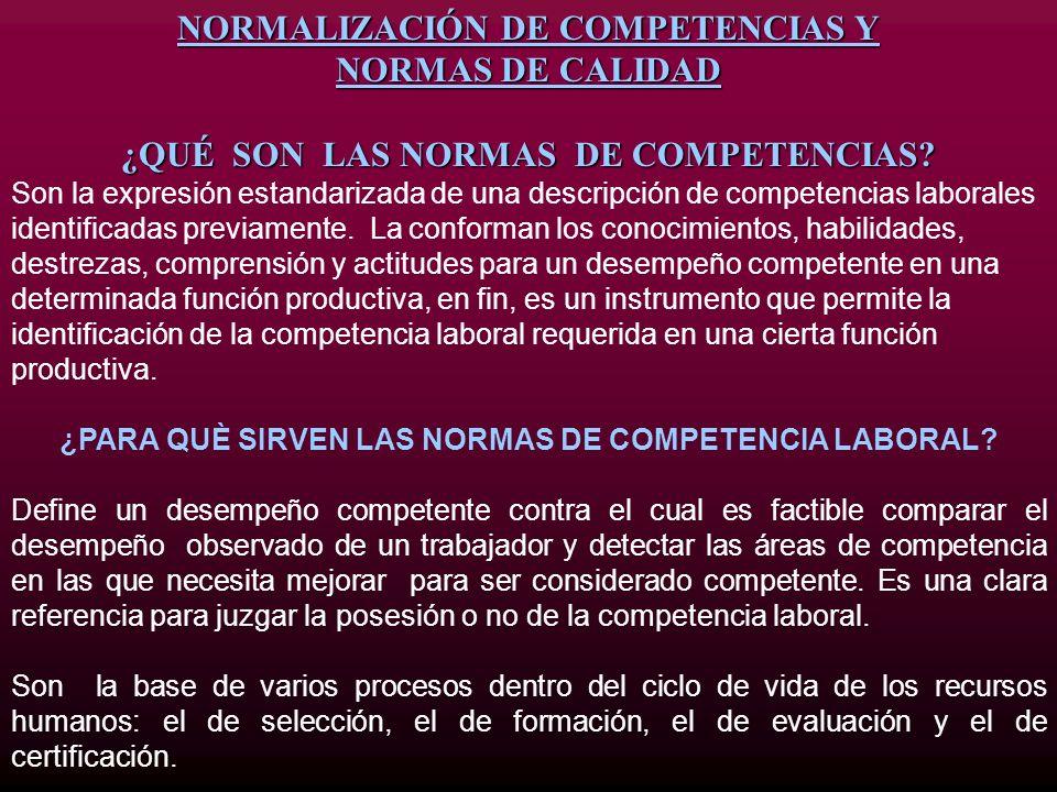 NORMALIZACIÓN DE COMPETENCIAS Y NORMAS DE CALIDAD ¿QUÉ SON LAS NORMAS DE COMPETENCIAS? Son la expresión estandarizada de una descripción de competenci