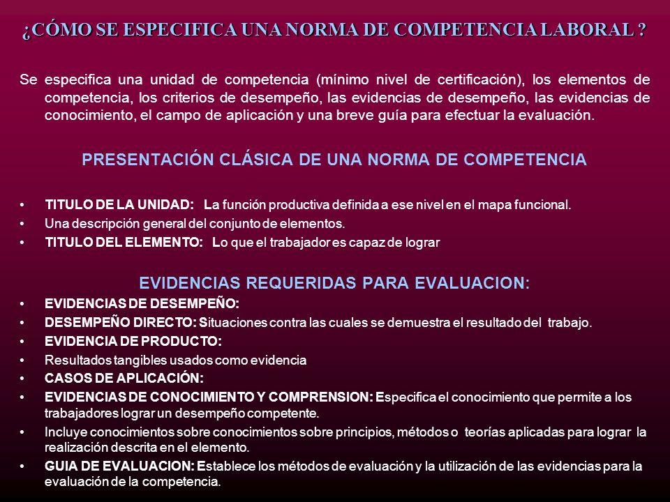 ¿CÓMO SE ESPECIFICA UNA NORMA DE COMPETENCIA LABORAL ? Se especifica una unidad de competencia (mínimo nivel de certificación), los elementos de compe
