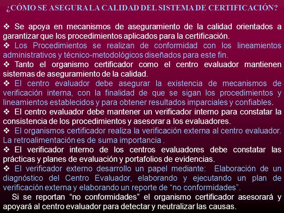 ¿CÓMO SE ASEGURA LA CALIDAD DEL SISTEMA DE CERTIFICACIÓN? Se apoya en mecanismos de aseguramiento de la calidad orientados a garantizar que los proced