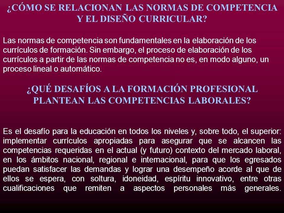 ¿CÓMO SE RELACIONAN LAS NORMAS DE COMPETENCIA Y EL DISEÑO CURRICULAR? Las normas de competencia son fundamentales en la elaboración de los currículos