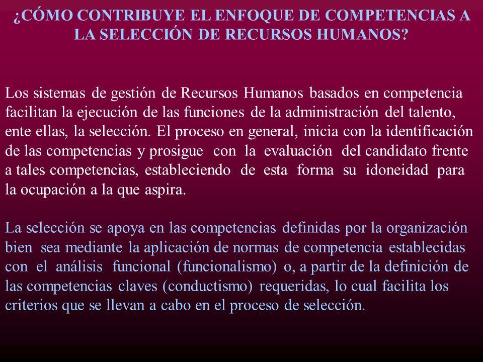 ¿CÓMO CONTRIBUYE EL ENFOQUE DE COMPETENCIAS A LA SELECCIÓN DE RECURSOS HUMANOS? Los sistemas de gestión de Recursos Humanos basados en competencia fac