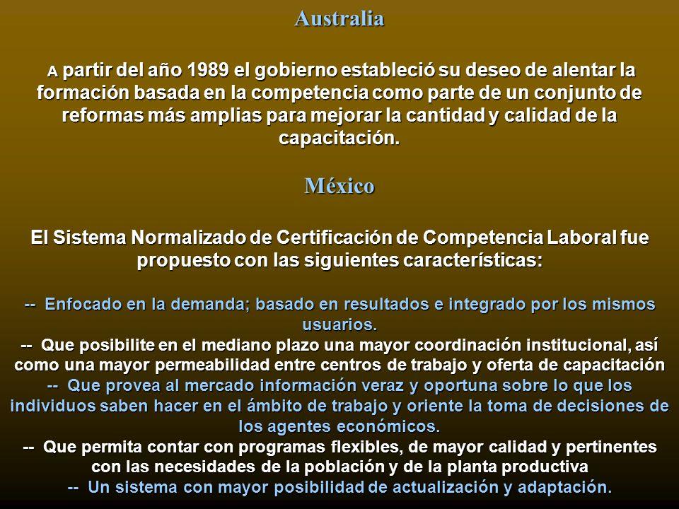 Australia A partir del año 1989 el gobierno estableció su deseo de alentar la formación basada en la competencia como parte de un conjunto de reformas