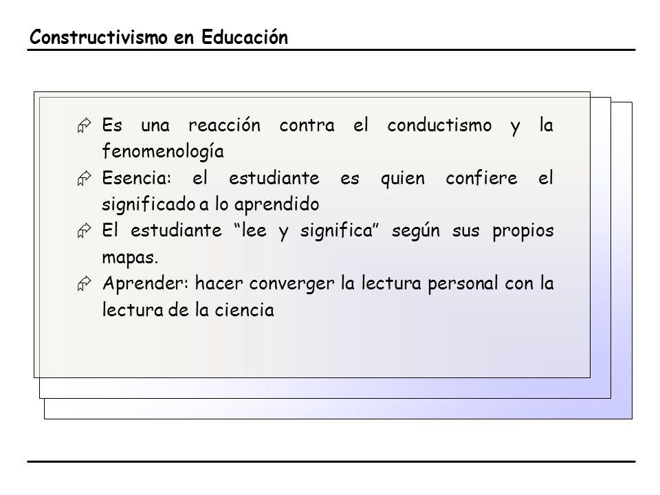 Constructivismo en Educación Es una reacción contra el conductismo y la fenomenología Esencia: el estudiante es quien confiere el significado a lo apr