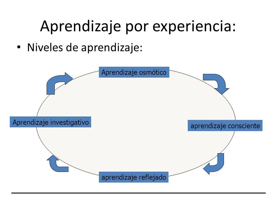 Aprendizaje por experiencia: Niveles de aprendizaje: Aprendizaje osmótico aprendizaje consciente aprendizaje reflejado Aprendizaje investigativo