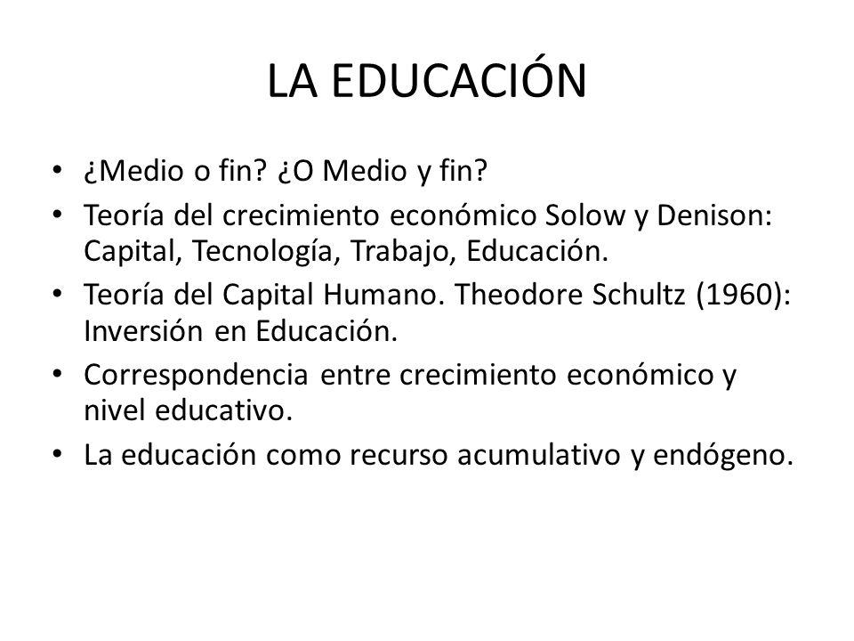 LA EDUCACIÓN ¿Medio o fin? ¿O Medio y fin? Teoría del crecimiento económico Solow y Denison: Capital, Tecnología, Trabajo, Educación. Teoría del Capit