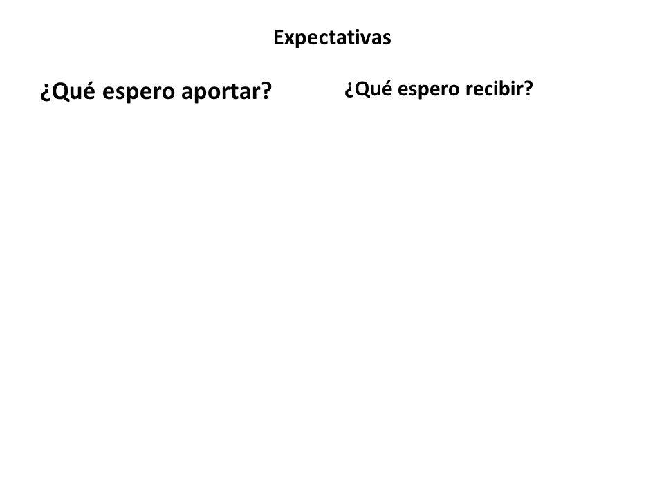 Expectativas ¿Qué espero aportar? ¿Qué espero recibir?