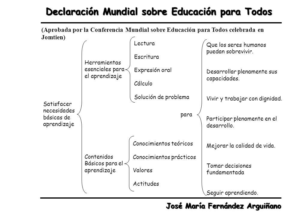 Declaración Mundial sobre Educación para Todos (Aprobada por la Conferencia Mundial sobre Educación para Todos celebrada en Jomtien) Satisfacer necesi