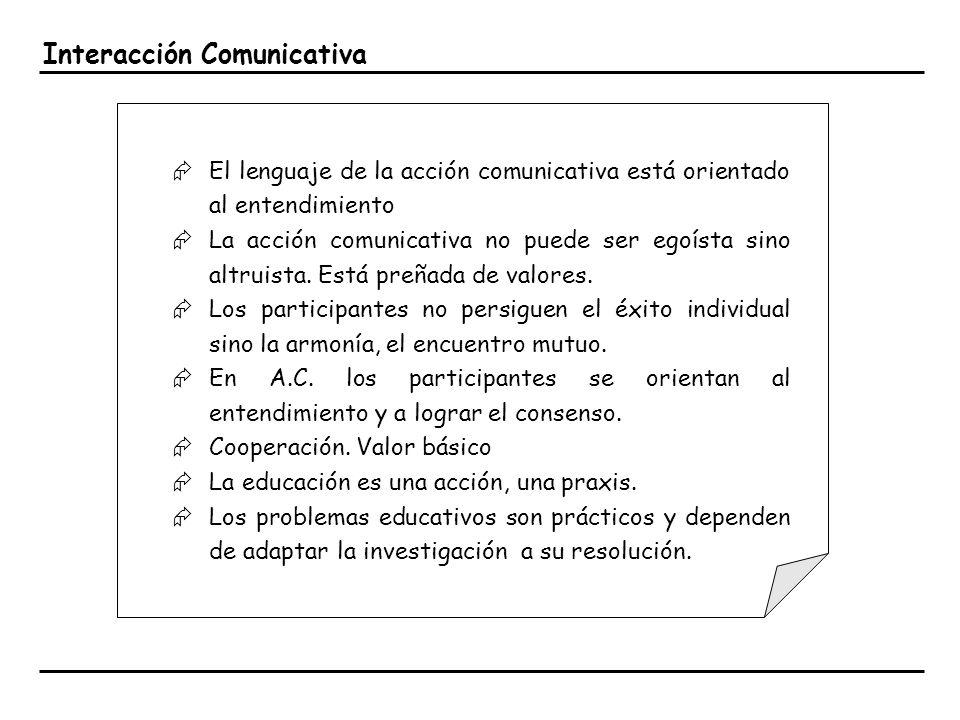 Interacción Comunicativa El lenguaje de la acción comunicativa está orientado al entendimiento La acción comunicativa no puede ser egoísta sino altrui