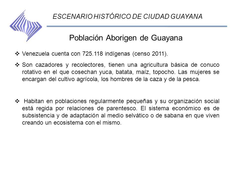 Población Aborigen de Guayana ESCENARIO HISTÓRICO DE CIUDAD GUAYANA Venezuela cuenta con 725.118 indígenas (censo 2011). Son cazadores y recolectores,