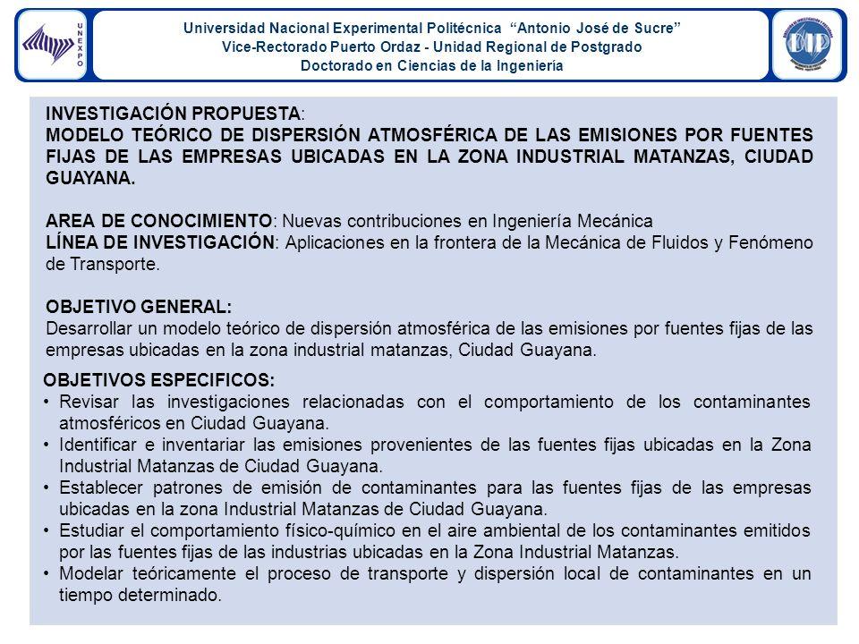 Universidad Nacional Experimental Politécnica Antonio José de Sucre Vice-Rectorado Puerto Ordaz - Unidad Regional de Postgrado Doctorado en Ciencias de la Ingeniería INVESTIGACIÓN PROPUESTA: MODELO TEÓRICO DE DISPERSIÓN ATMOSFÉRICA DE LAS EMISIONES POR FUENTES FIJAS DE LAS EMPRESAS UBICADAS EN LA ZONA INDUSTRIAL MATANZAS, CIUDAD GUAYANA.