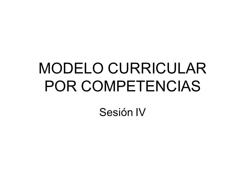 MODELO CURRICULAR POR COMPETENCIAS Sesión IV
